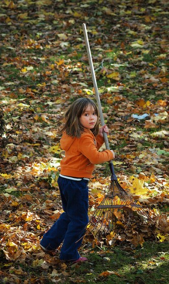 Turning yardwork into play aids in indoctrinating children for the yardvolution.